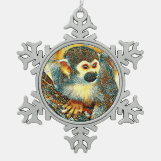 AnimalArt_Monkey_20170601_by_JAMColors Schneeflocken Zinn-Ornament