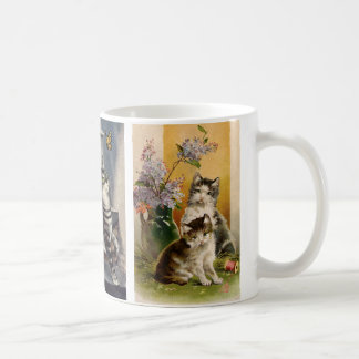 Animaux vintages, chatons victoriens mignons mug blanc