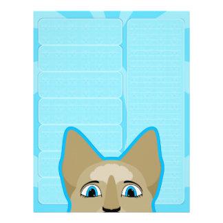 Anime-Katzen-Gesicht mit blauen Augen Vollfarbige Flyer
