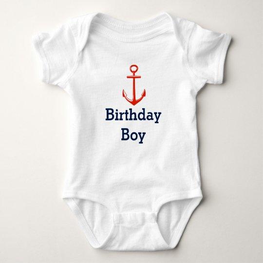 Anker - Geburtstagsjungen-Shirt - fertigen Sie Baby Strampler