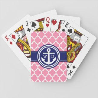 Anker-Marine-Blau 2 Init des Flamingo-rosa Spielkarten