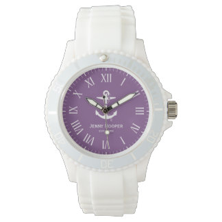 Anker mit Namen und datieren | lila Seegeschenke Armbanduhr