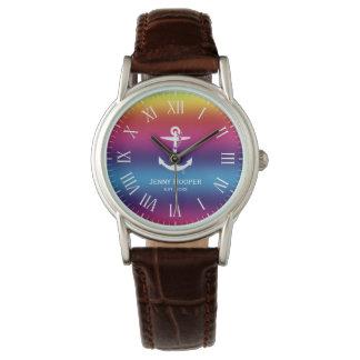 Anker mit Namen und datieren   Regenbogen Armbanduhr