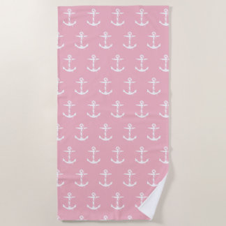 Anker mit Seil-Muster | blaß - rosa See Strandtuch