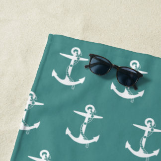 Anker mit Seil-Muster | nautisch Strandtuch