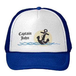 Anker, Sun und Wasser-personalisierter Kapitän Retromützen