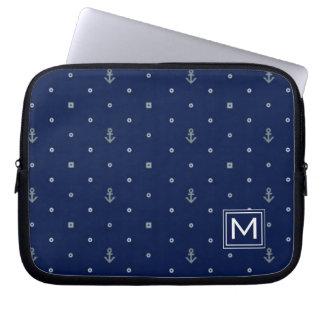 Anker-Tupfen-Muster | addieren Ihre Initiale Laptop Sleeve