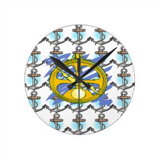 Anker-u. Kompass-Seemann-Schale Runde Wanduhr