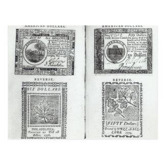 Anmerkungen der kontinentalen Währung Postkarte