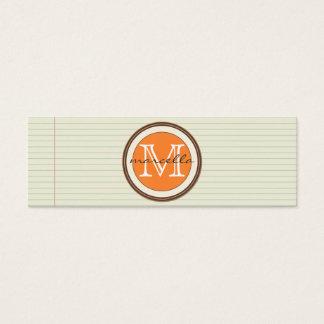 Anmerkungs-Papier-Hintergrund-Orangen-Monogramm Mini Visitenkarte