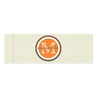 Anmerkungs-Papier-Hintergrund-Orangen-Monogramm Mini-Visitenkarten