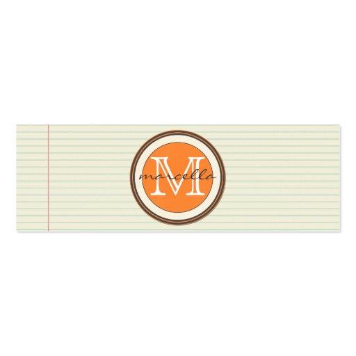 Anmerkungs-Papier-Hintergrund-Orangen-Monogramm Visitenkarten