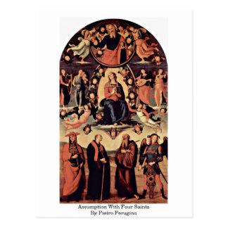 Annahme mit vier Heiligen durch Pietro Perugino Postkarte