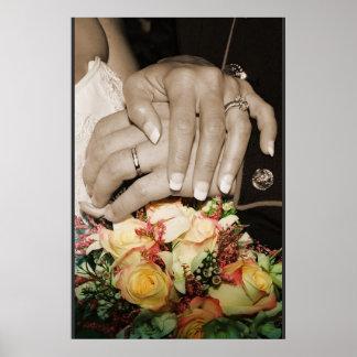 anneaux de mariage w/flowers poster