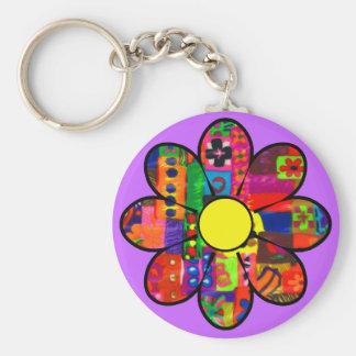 Années '60 flower power porte-clé rond