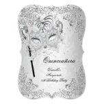 Anniversaire argenté de Quinceanera de mascarade Carton D'invitation 12,7 Cm X 17,78 Cm