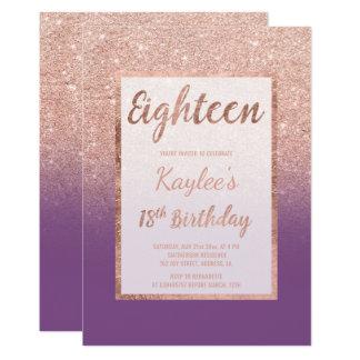 Anniversaire chic pourpre de scintillement rose carton d'invitation  12,7 cm x 17,78 cm
