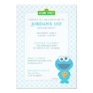 Anniversaire de bébé de monstre de biscuit carton d'invitation  12,7 cm x 17,78 cm