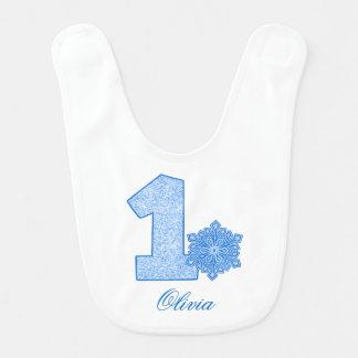 Anniversaire de bleu de flocon de neige bavoir pour bébé