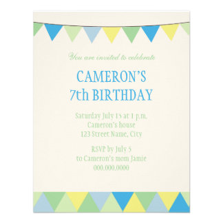 Anniversaire de enfant bleu de banderole de ficell cartons d'invitation