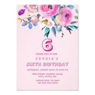 Anniversaire de enfant rose d'enfants de fille de carton d'invitation  12,7 cm x 17,78 cm