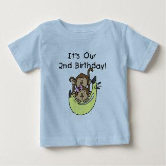 Anniversaire de garçon et de fille de singe de t-shirt pour bébé