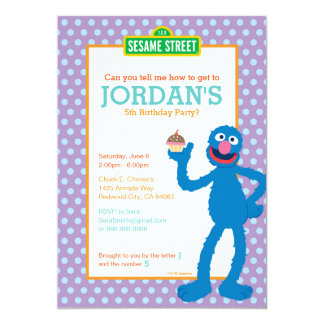Anniversaire de Grover Carton D'invitation 12,7 Cm X 17,78 Cm