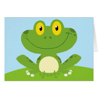 Anniversaire de houblon de grenouille verte carte de vœux