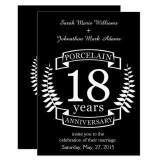 Anniversaire de mariage traditionnel de porcelaine carton d'invitation  12,7 cm x 17,78 cm