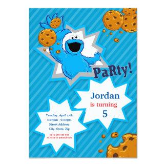 Anniversaire de monstre de biscuit carton d'invitation  11,43 cm x 15,87 cm