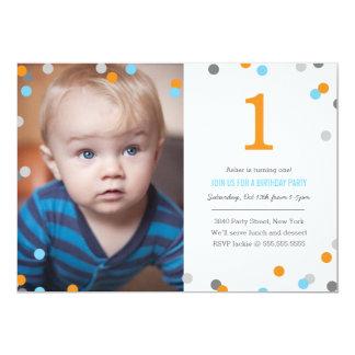 Anniversaire de photo de confettis carton d'invitation  12,7 cm x 17,78 cm