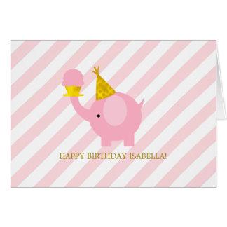 Anniversaire mignon d'éléphant rose carte de vœux