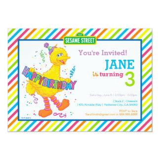 Anniversaire rayé de grand oiseau carton d'invitation  12,7 cm x 17,78 cm