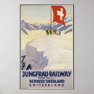 Annonce vintage d'affiche de voyage de trains de poster