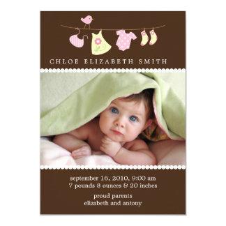 Annonces de naissance de corde à linge de bébé carton d'invitation  12,7 cm x 17,78 cm