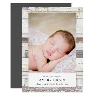 Annonces en bois affligées de naissance carton d'invitation  12,7 cm x 17,78 cm