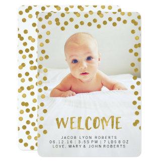 Annonces modernes de naissance de photo d'or de carton d'invitation  12,7 cm x 17,78 cm