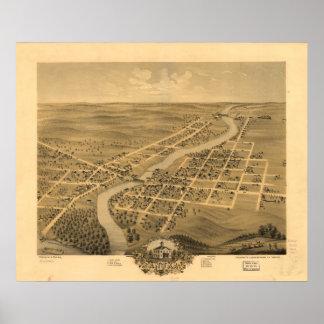 Anoka Minnesota 1869 antike panoramische Karte Poster