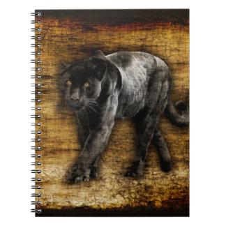 Anpirschende schwarzer Panther-Grafik Notizblock