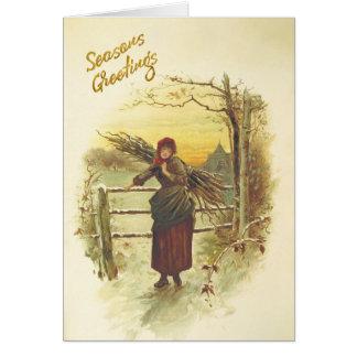 Ansammlungswinterbrennholz Weihnachtskarte Karte