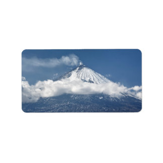 Ansicht aktiven Vulkans Kamchatka Adressetikett