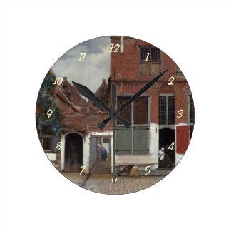 Ansicht der Häuser in Delft die kleine Straße Runde Wanduhr