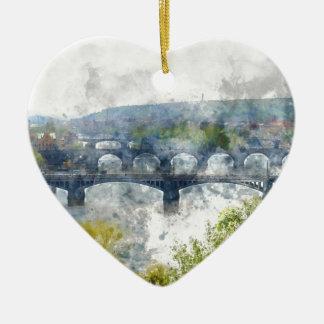 Ansicht des die Moldau-Flusses und der Brücken, Keramik Herz-Ornament