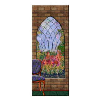 Ansicht des Gartens durch Kapellen-Fenster Poster