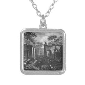 Ansicht des Hafens der alten Stadt von Pompeji Halskette Mit Quadratischem Anhänger