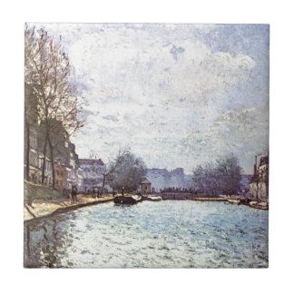 Ansicht des Kanals St Martin durch Alfred Sisley Keramikfliese