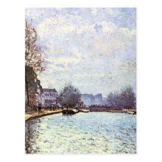 Ansicht des Kanals St Martin durch Alfred Sisley Postkarte