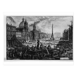 Ansicht des Marktplatzes Navona auf den Ruinen Postkarte