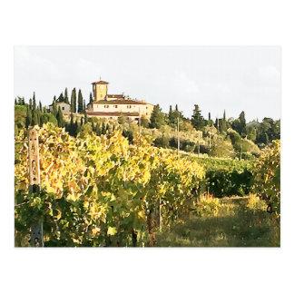 Ansicht des Weinberg-Landhauses Toskana Chianti Postkarte