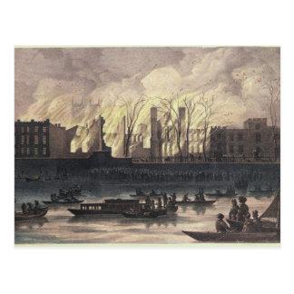 Ansicht eines Feuers an Whitehall-Palast Postkarte